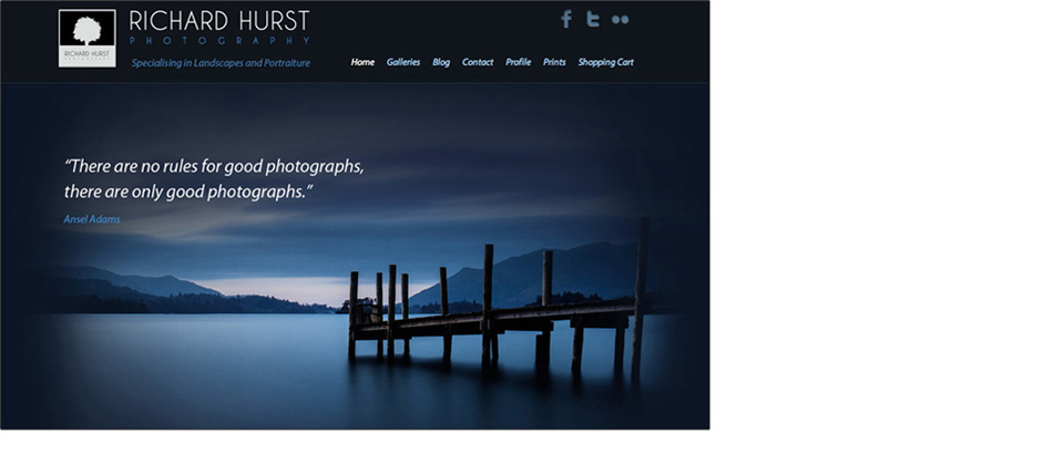 Wordpress site for Landscape Photographer Richard Hurst